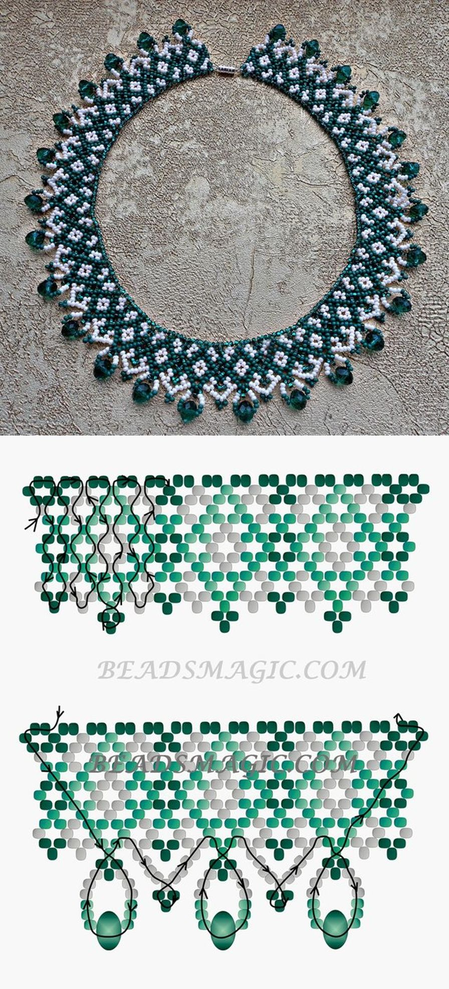 tutorial chain directions bead beading daisy necklace stitch pattern gilded leaf beaded diagonal simple peyote neck patterns for