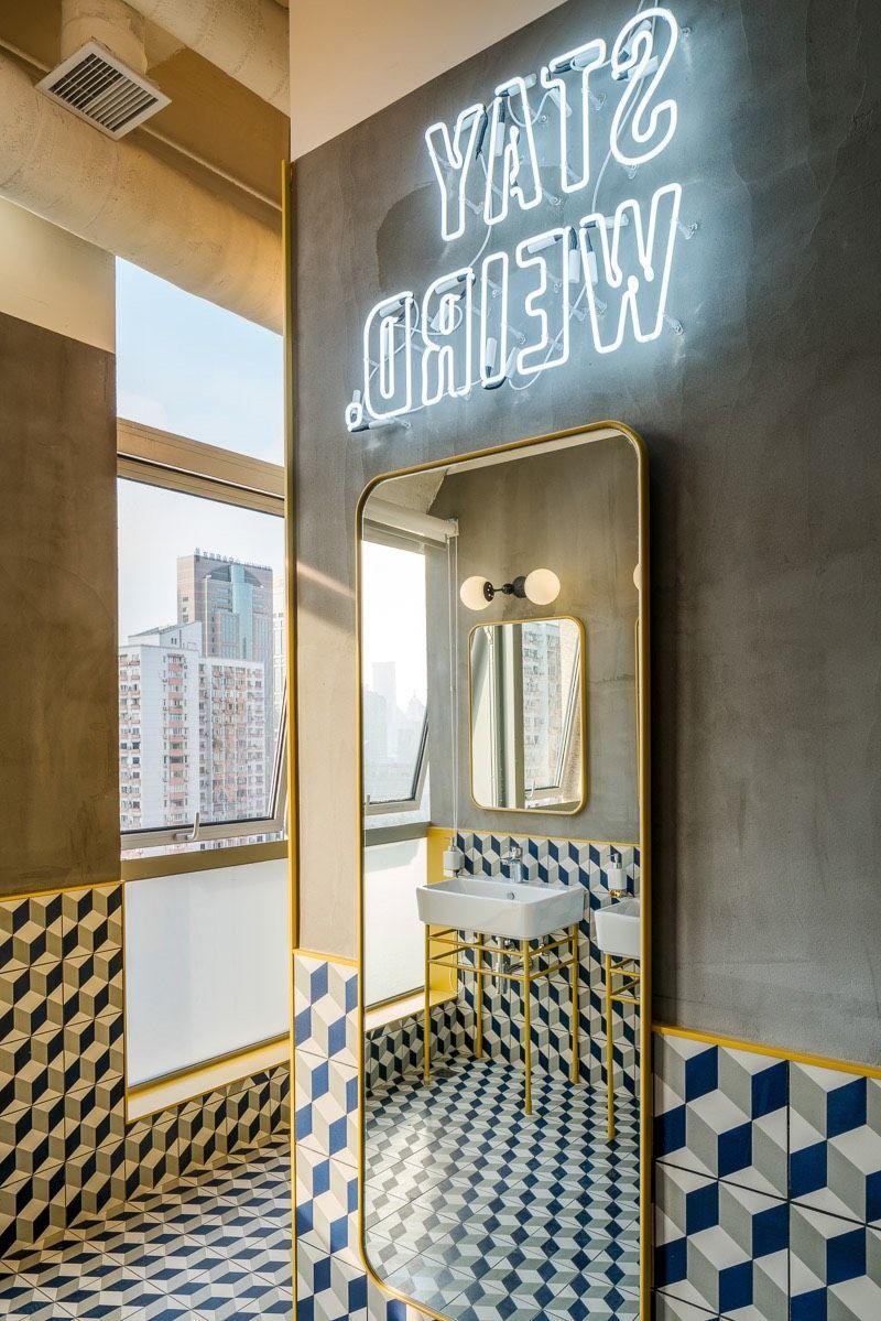 Bathroom at WeWorku0027s coworking space in Shanghai