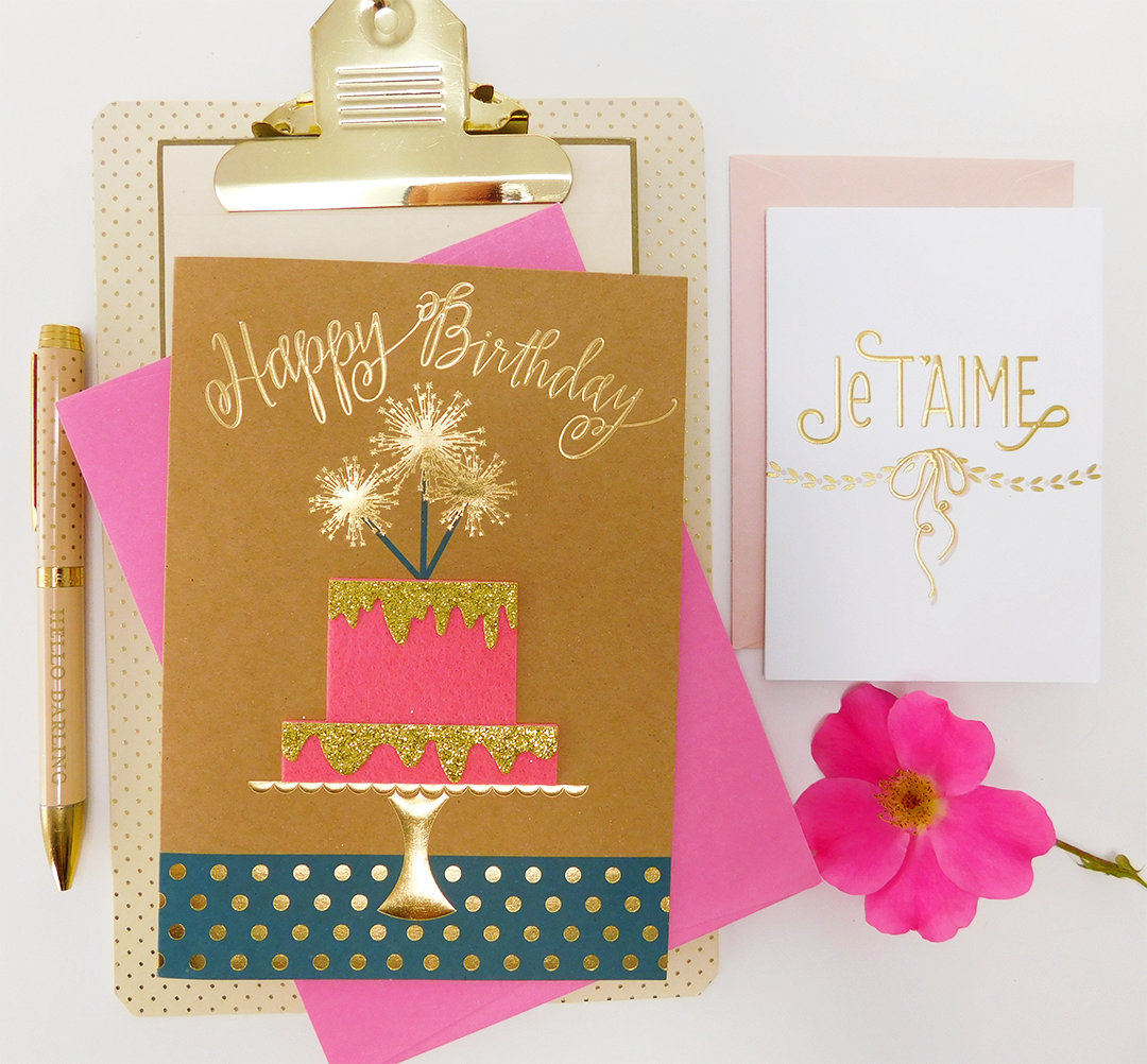 Glitter And Gold Foil All On One Beautiful Handmade Birthday Card