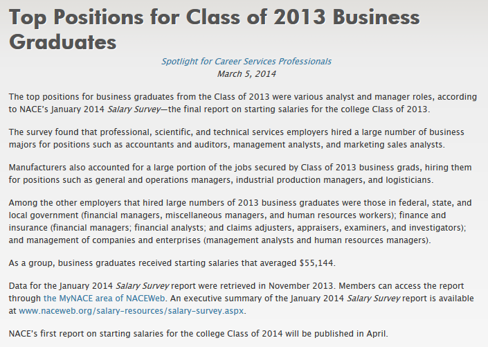 The Top Positions For Business Graduates From The Class Of
