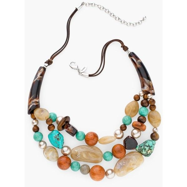 Chico's Everly Multi-Strand Necklace (€52) ❤ liked on Polyvore featuring jewelry, necklaces, turquoise, fake jewelry, multiple strand necklace, wood necklace, layered necklace and wood jewelry