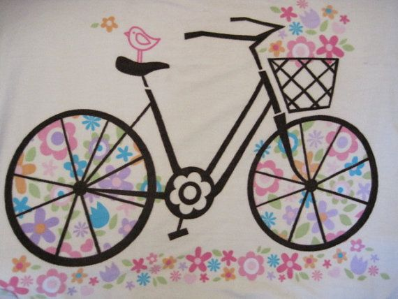 Bicycle Outline with Blue Blanket by CutnTiedbyRedYvette on Etsy, $40.00