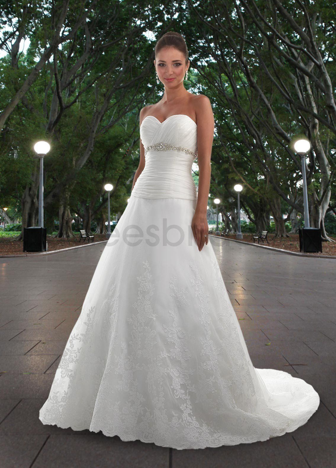 Kaylees bridal organza a line strapless sweetheart for Lace a line wedding dress with sweetheart neckline