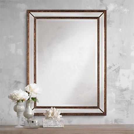 30 x 40 mirror. This Handsome Wall Mirror Features A Frame With Beaded Details. 30 X 40