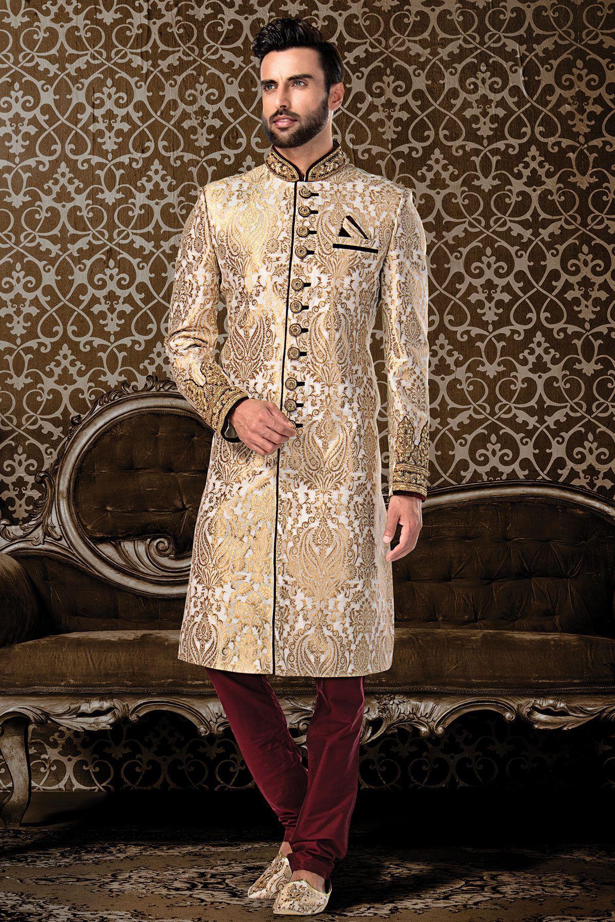 Men/'s Elegant Luxury Ethnic Indian Grooms Wedding White Sherwani Churidaar Pajama