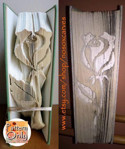 Long Stem Rose Cut & Fold Book Art Pattern #artdupliagedelivres