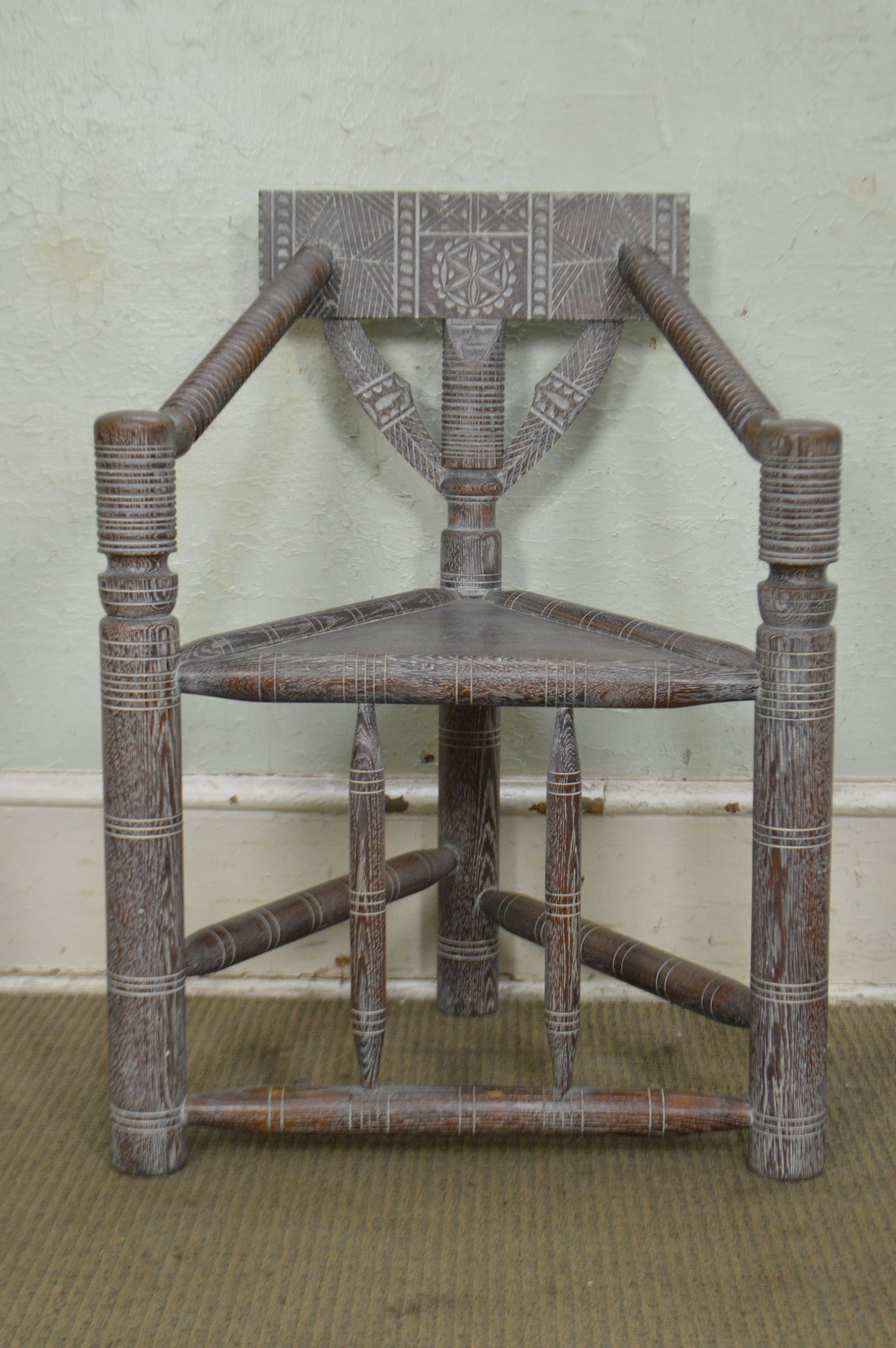 Cerused Oak Antique Aesthetic Carved Turners Chairs Set Of 6