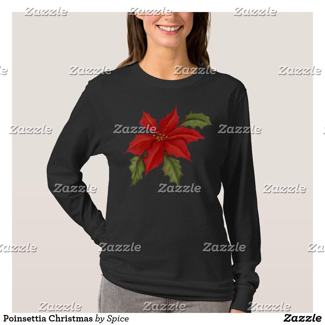 Poinsettia Christmas T Shirt Zazzle Com