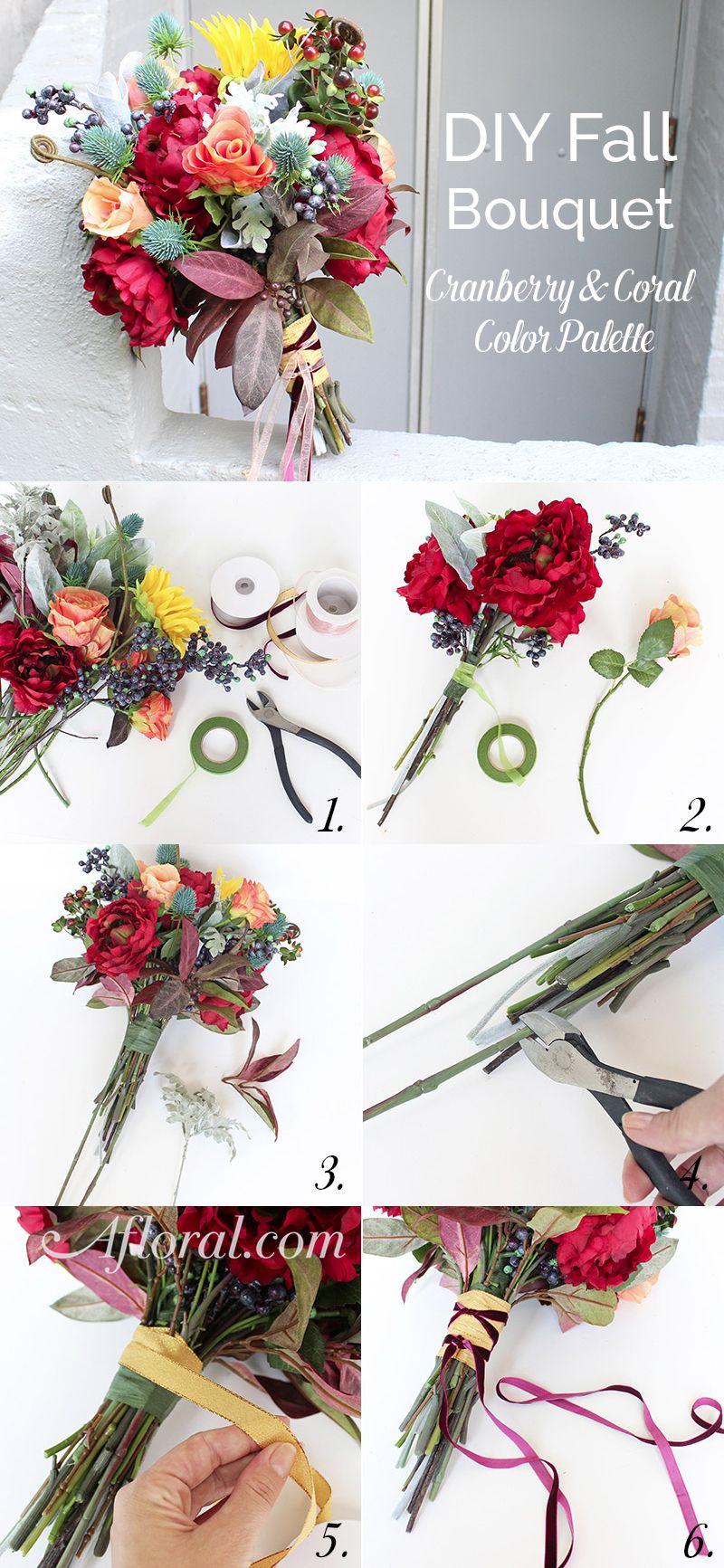 DIY Fall Bouquet Cranberry & Coral | Fall wedding flowers, Fall ...