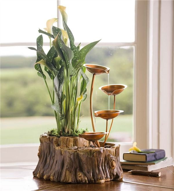 Beautiful Main Image For Tabletop Fountain With Planter With Indoor  Fountains.