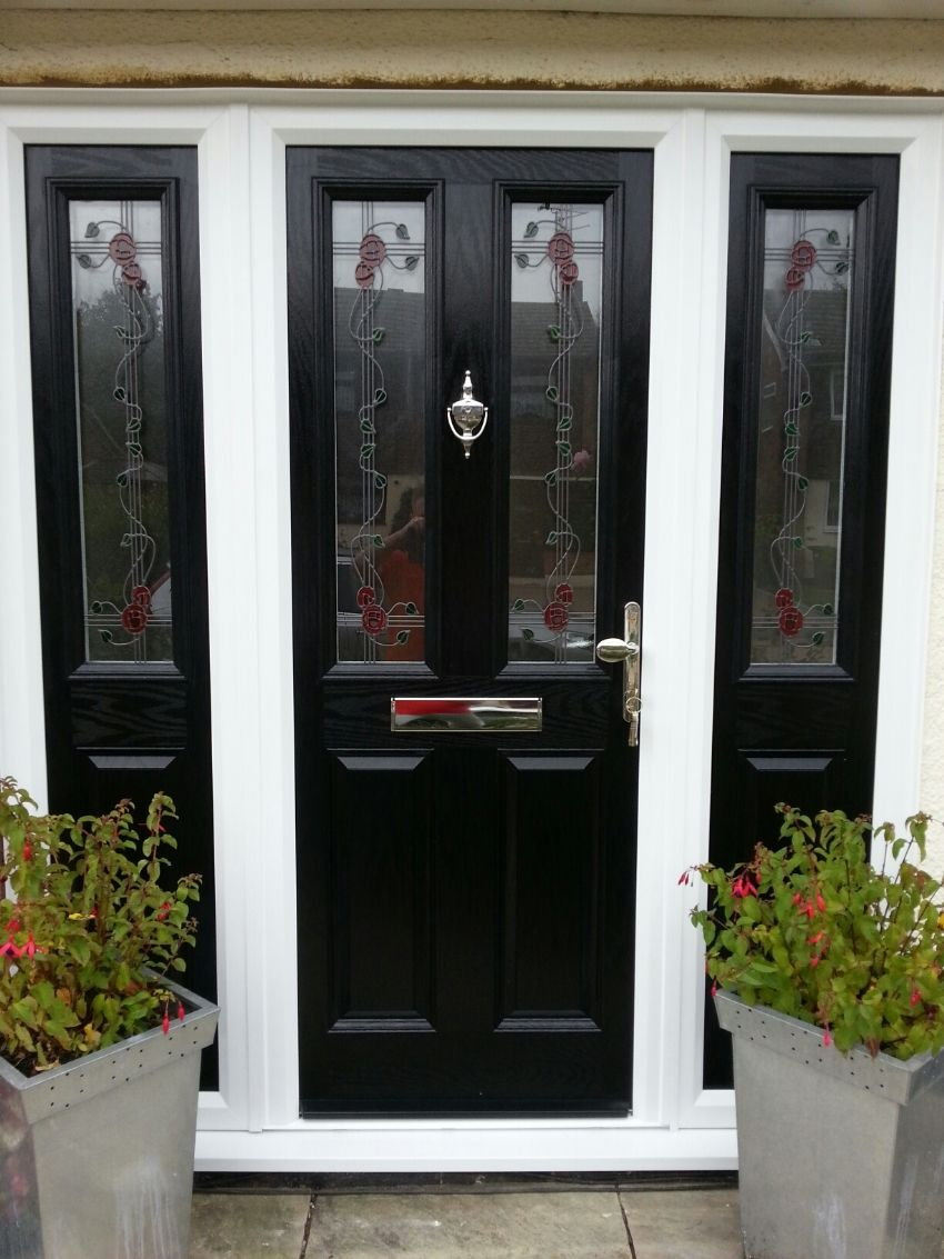Single front doors with glass google search enchanted for Front door glass panels