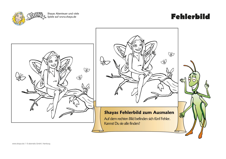 Druckbares Arbeitsblatt für Kinder: Fehlerbild zum Ausmalen für den ...