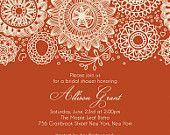 "BRIDAL SHOWER Burnt Orange Fall Themed Invitation size  4""x6"" or 5""x7"" --complete digital file--"