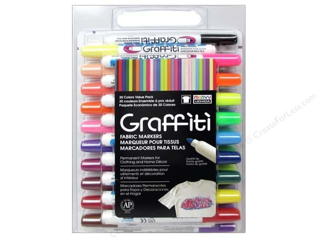 Marvy Uchida Graffiti Fabric Markers are great for drawing on light colored fabrics. Easily create thick and thin lines with the tapered medium tip. The ink is acid free, non toxic and pigmented. 30 pc. Colors include Black, Red, Blue, Green, Yellow, Brown, Orange, Violet, Light Blue, Light Green, Warm Grey, Magenta, Pale Green, Coral Pink, Cool Grey, Flesh Tone, Yellow Green, Salvia Blue, Dark Violet, Plum, Bubble Gum Pink, Daffodil Yellow, Scarlet, Amethyst, Fluorescent Green, Fluorescent…