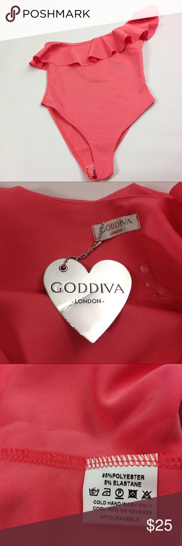 New Godiva Women Ruffled Coral One Shoulder Swim S NWT ...