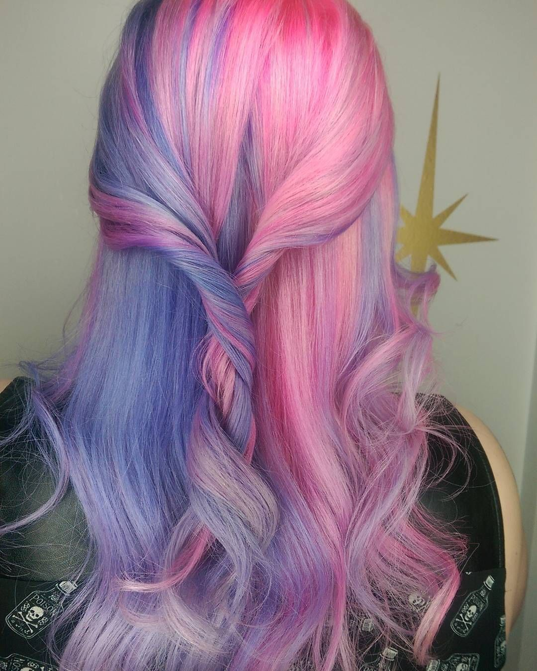 Half and half pastel pink and purple hair hair style ideasuc