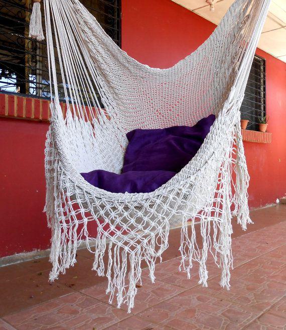 fauteuil suspendu en macram balcon ou salon. Black Bedroom Furniture Sets. Home Design Ideas