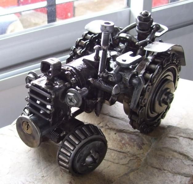 Neat little tractor make from found objects artspawn from for Tractor art projects
