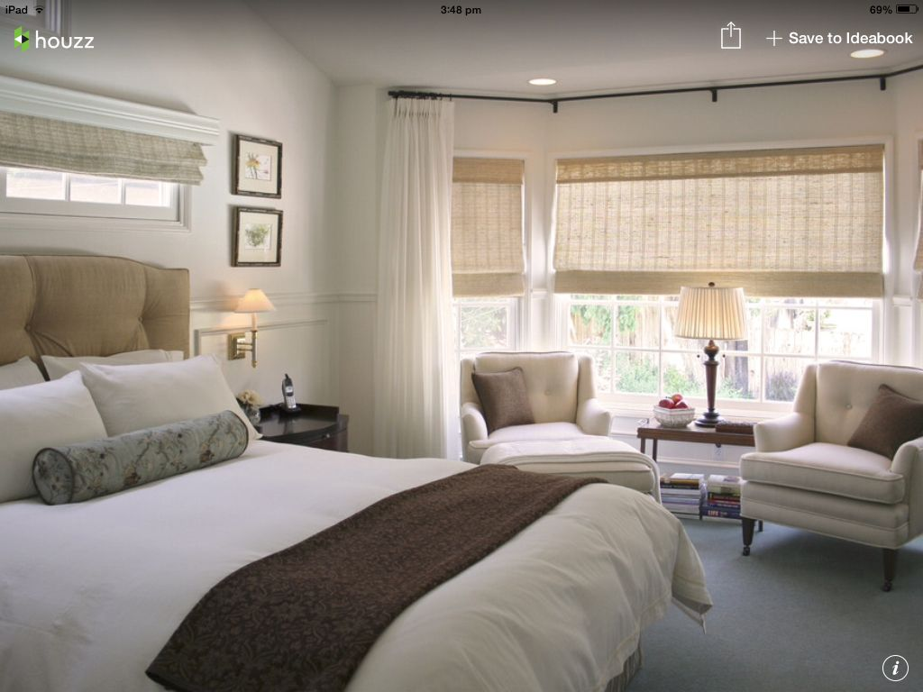 From Houzz... Sheer Curtains Over Blinds For Master Bedroom. Mount Curtains  High