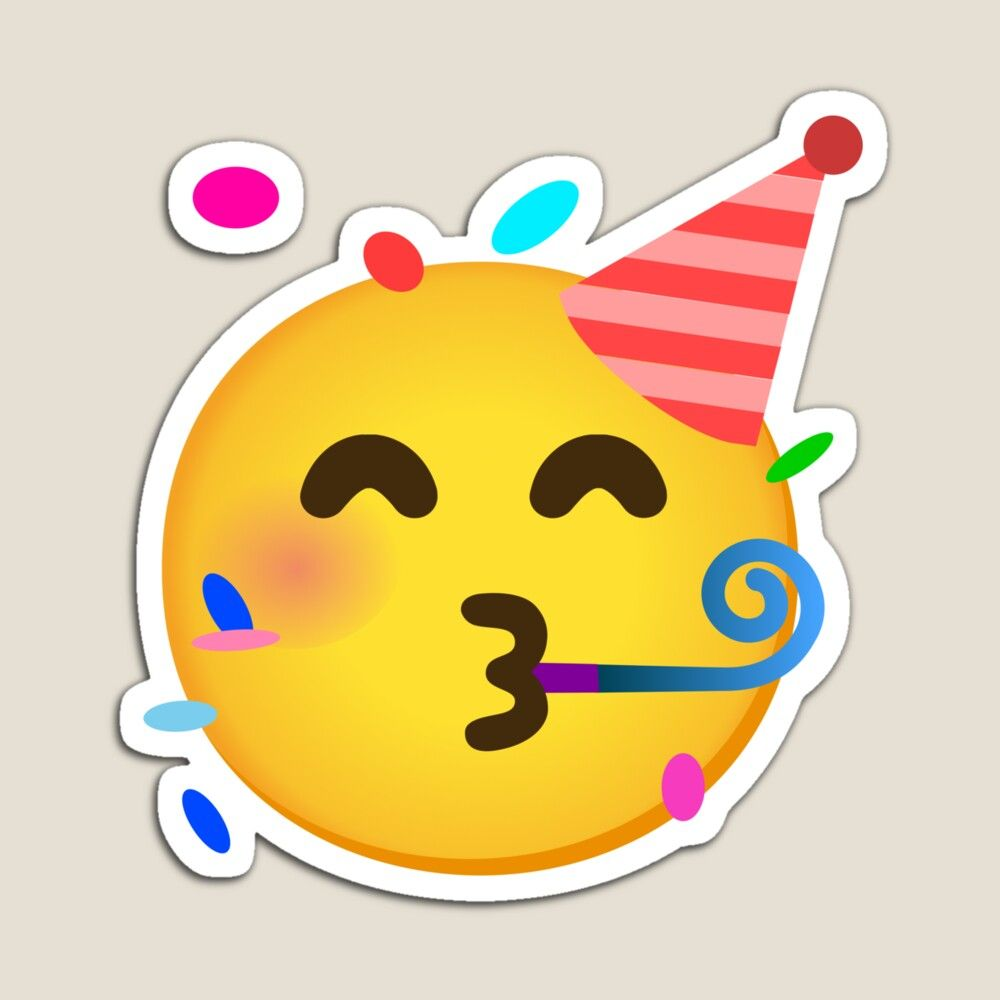 Emoji Partying Face With Party Horn And Party Hat Gift For Emoji Lovers Magnet By Mkmemo1111 In 2021 Party Horns Party Hats Emoji