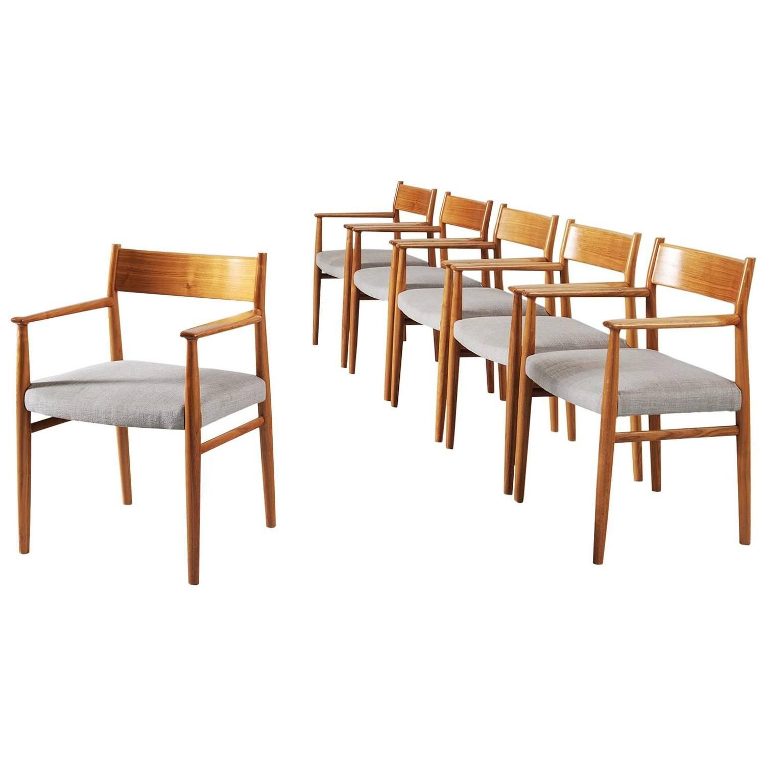 arne vodder set of six dining chairs in walnut - Set Of Six Dining Room Chairs