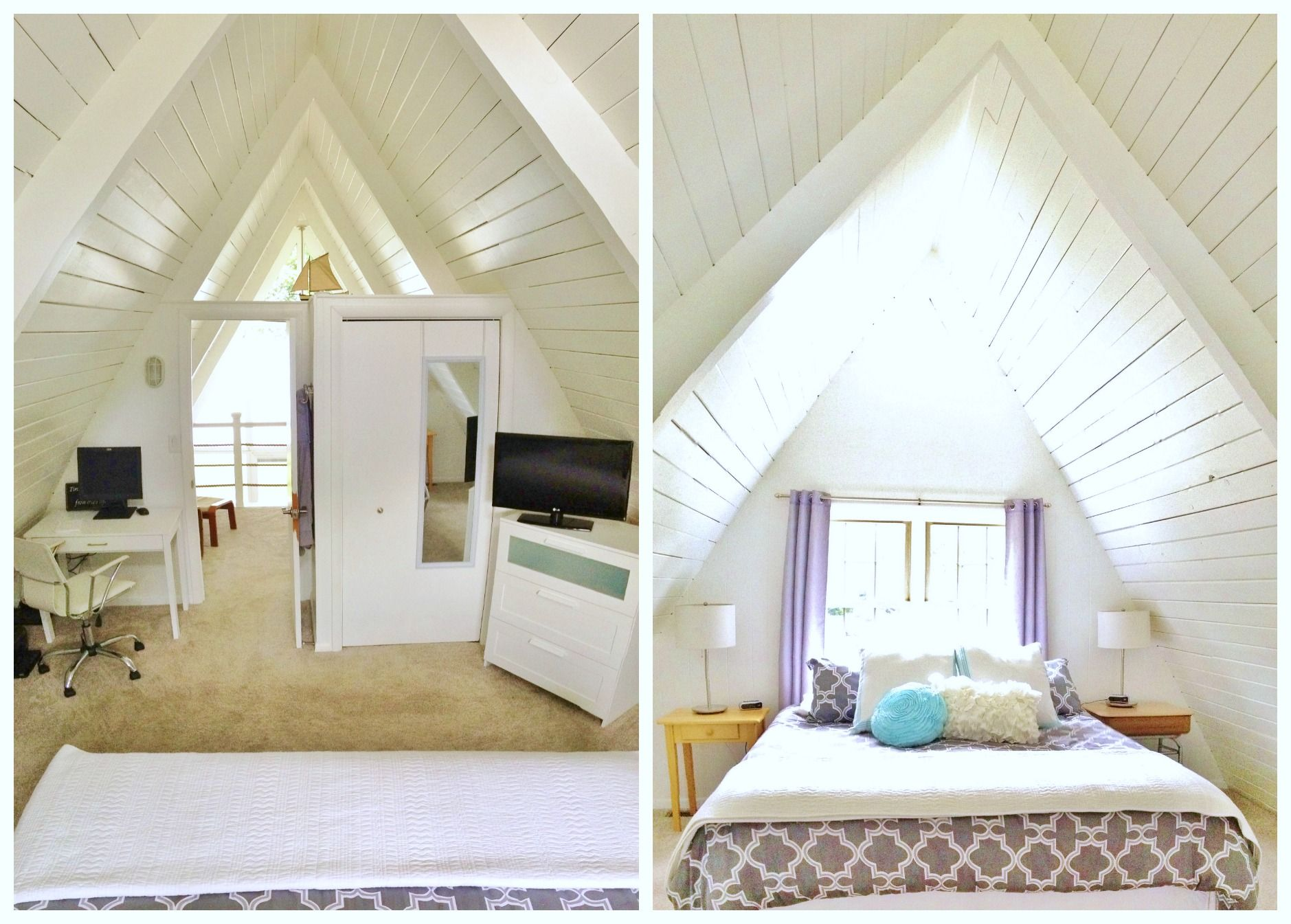North And South View Of A-Frame Upstairs Master Bedroom