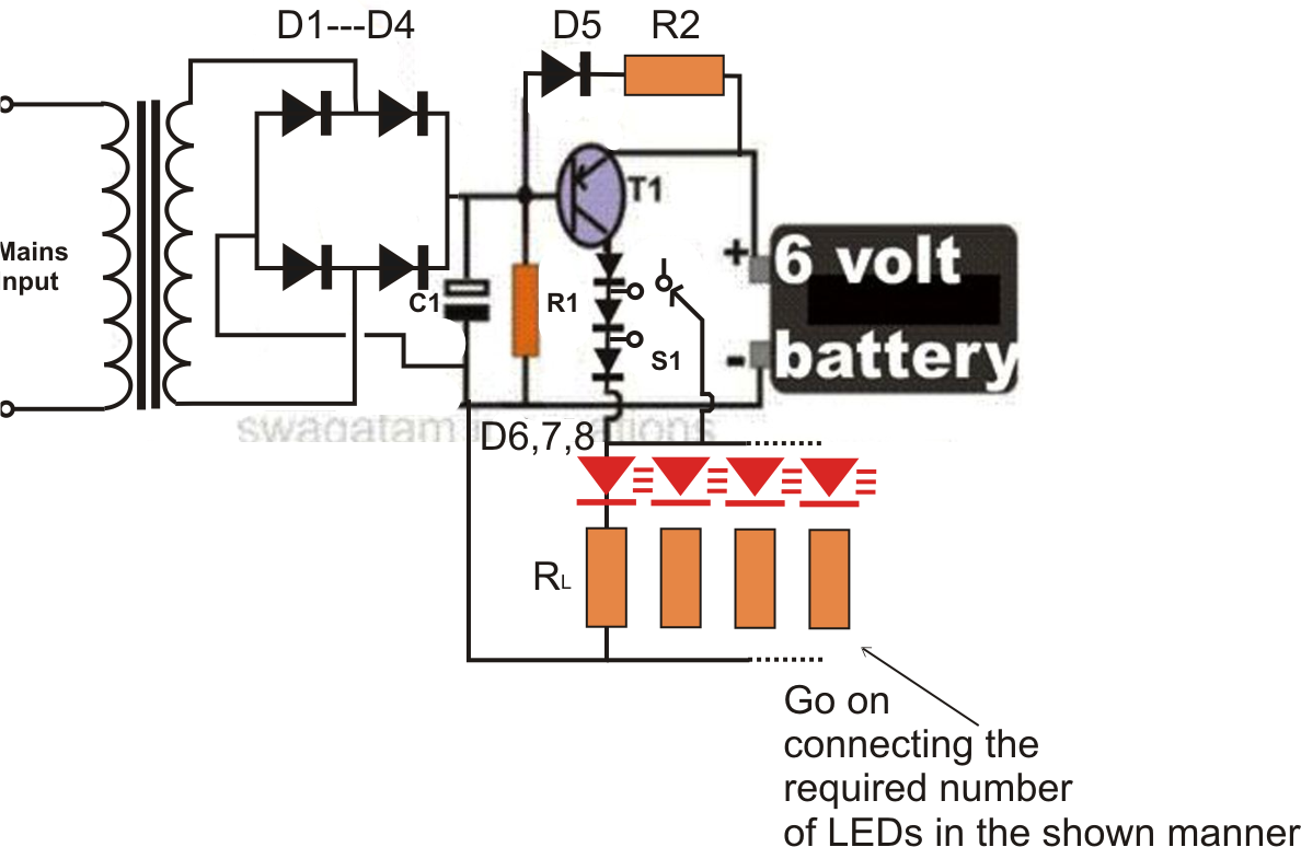 small resolution of 6v emergency light circuit