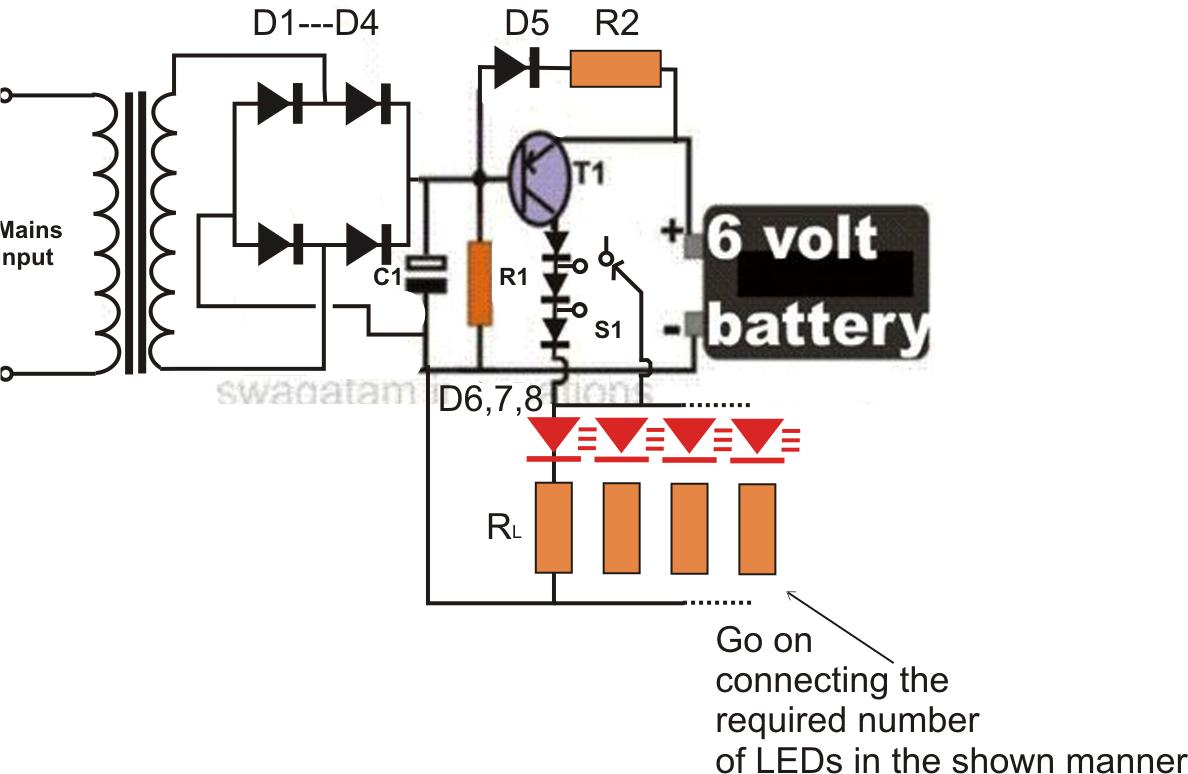 led based emergency light circuit diagram