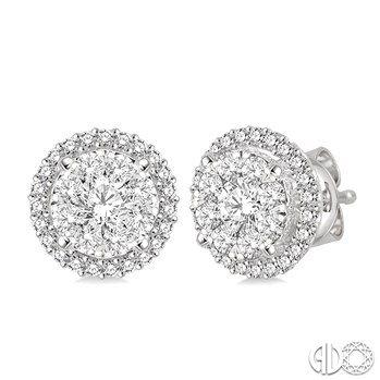 3 Ctw Lovebright Round Cut Diamond Earrings in 14K White Gold