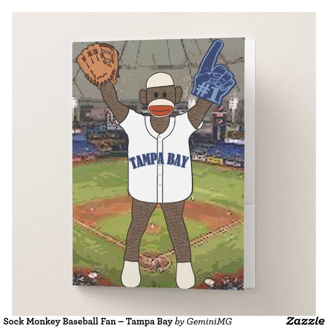 Sock Monkey Baseball Fan – Tampa Bay Pocket Folder | Zazzle.com #sockmoneky