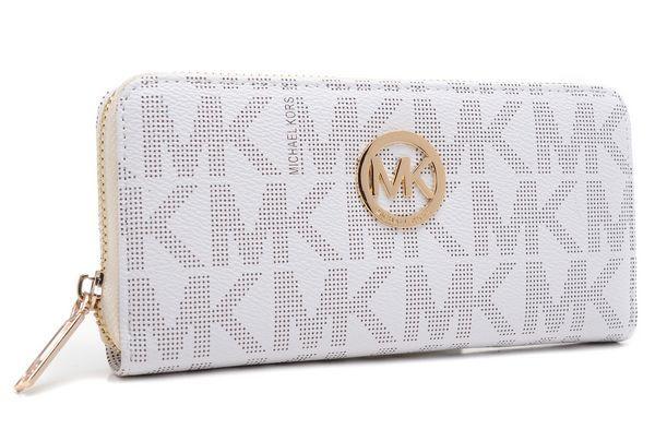 7ccc1d5cb36b Michael Kors Wallet Continental Monogram Leather White | Michael ...