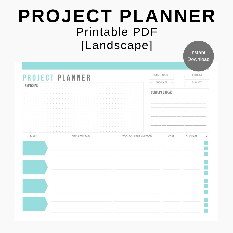 Project Planner Printable Insert Digital Worksheet