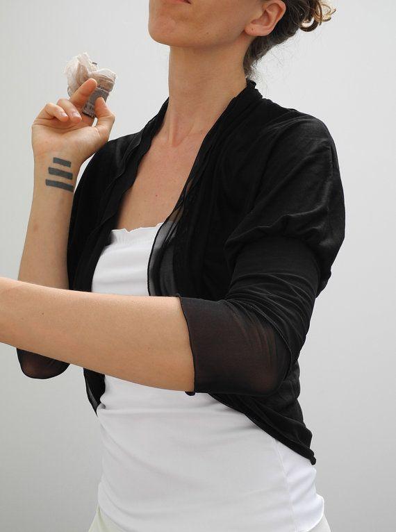 Shrug bolero cardigan, 3/4 sleeves shrug, black jersey and mesh ...