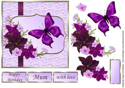 Burgundy and Lilac Flowers decoupage card