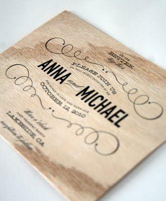 wooden wedding invitation. cool idea. good for natural wedding / outdoor wedding.