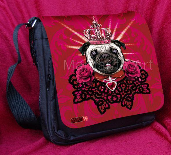 *Schicke Tragetasche / Schultertasche mit Mops-Design – Mops der König.* (C)    Mit dieser Tasche fällst Du garantiert auf. Eine schicke und strapazie