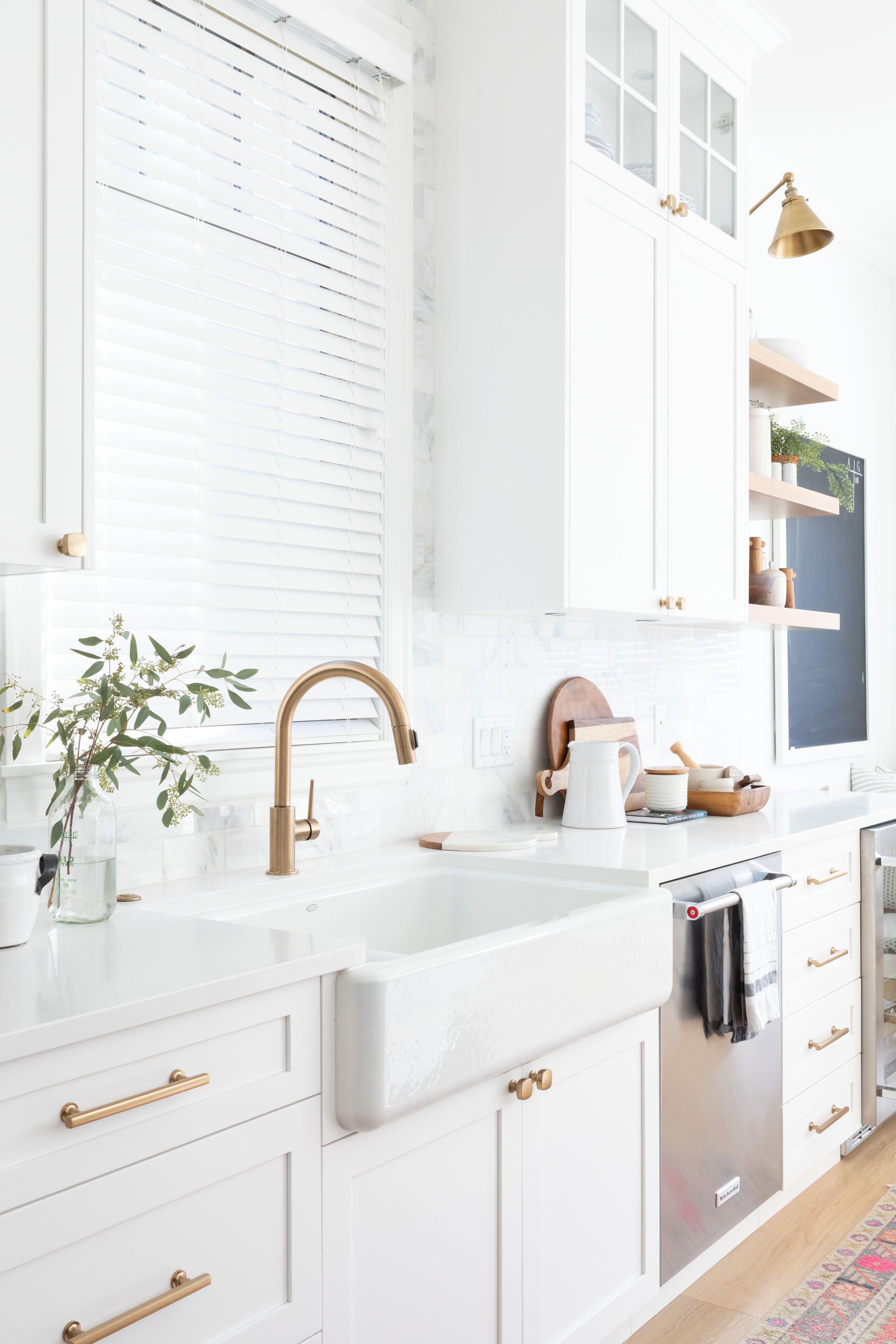 White Kitchen With Brass Hardware And Faucet Hazel And Brown Interior Design Kitchen Kitchen Interior Kitchen Remodel