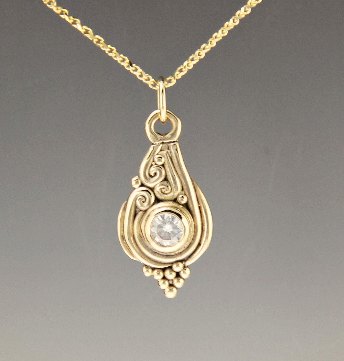 Forever one moissanite pendant in 14k yellow gold in 2020