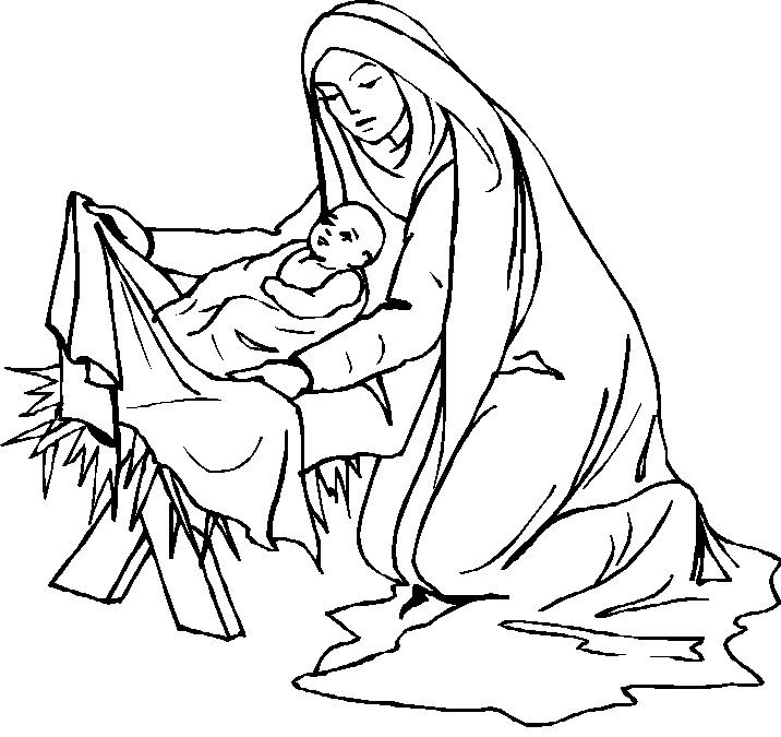 Mary Nursed Jesus With Love Coloring Pages