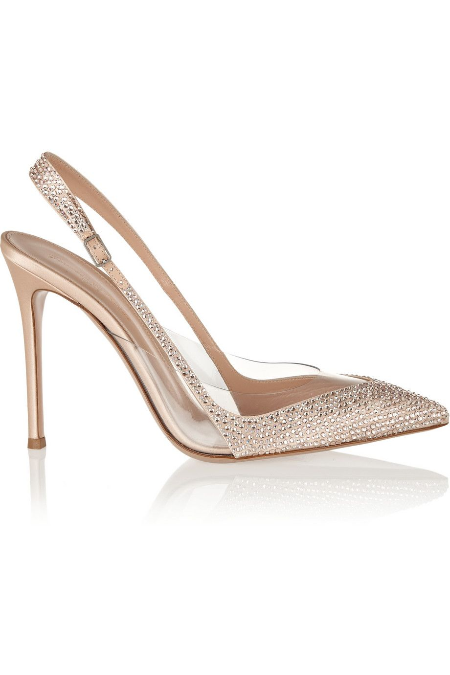 Beige Embellished Satin And Pvc Pumps Gianvito Rossi Heels Beige Shoes Slingback