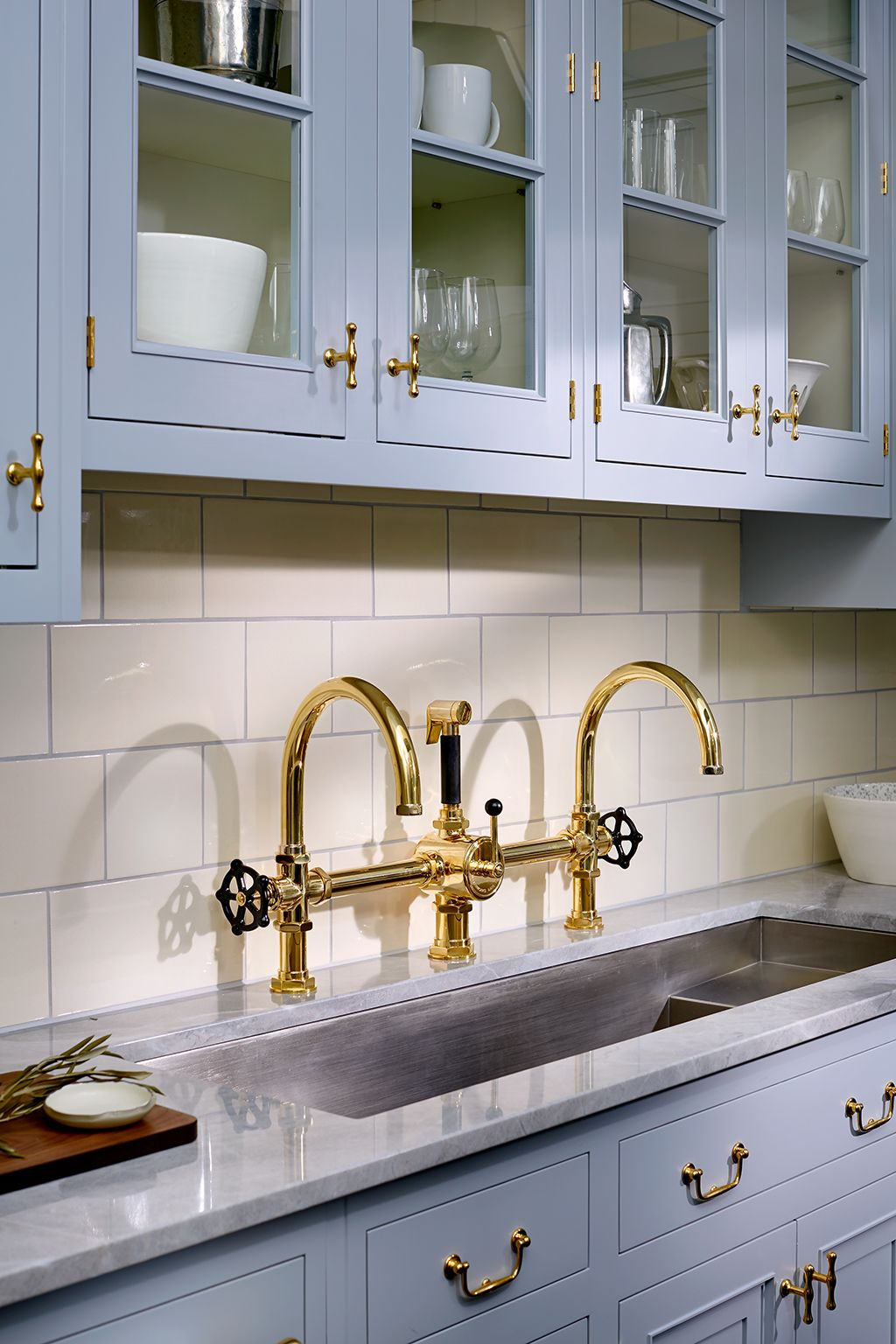 Our Traditional Belden Kitchen Cabinetry Mixed With An Industrial Brass Kitchen Fauc Brass Kitchen Faucet Black Kitchen Faucets Replacing Kitchen Countertops