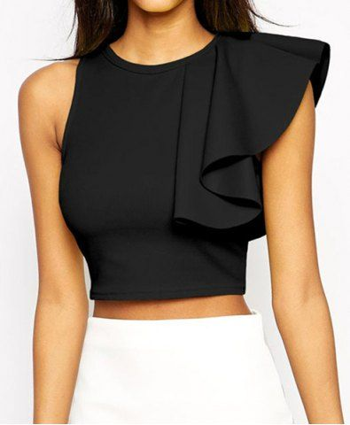 Stylish Round Collar Sleeveless Flounced Solid Color Women's Crop Top T-Shirts | RoseGal.com Mobile
