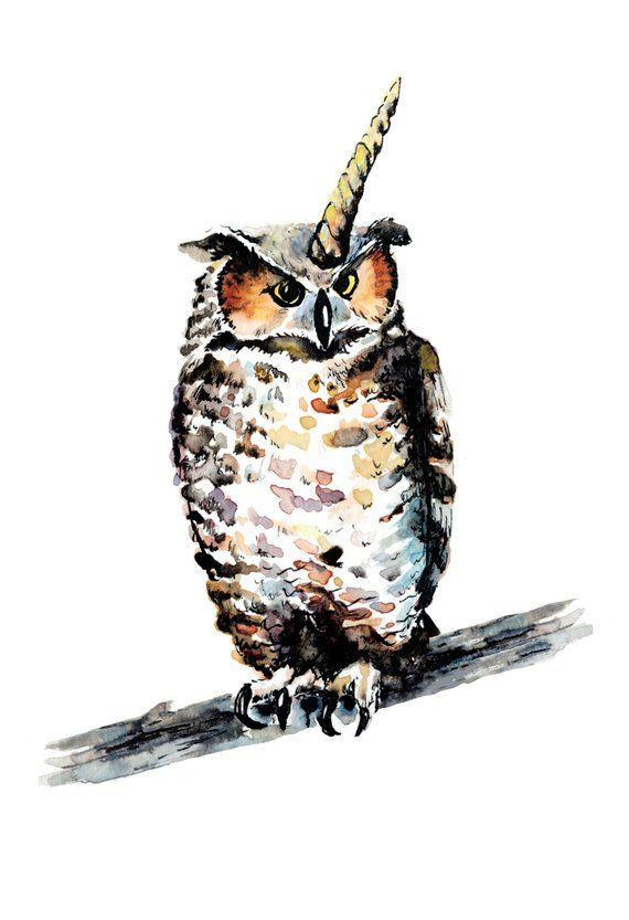 Painting Animal Art Great Owl Watercolor Horned Art Print qwxTBFt