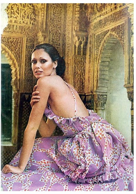 Model Lynn Woodruff wearing a lovely silk bareback halter dress by Oscar De La Renta, photographed at the Alhambra by Raymundo de Larrain for Vogue, 1971.