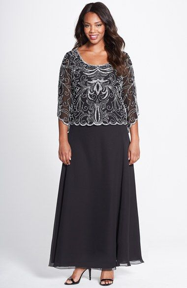 j kara embellished mock two piece gown (plus size) available at