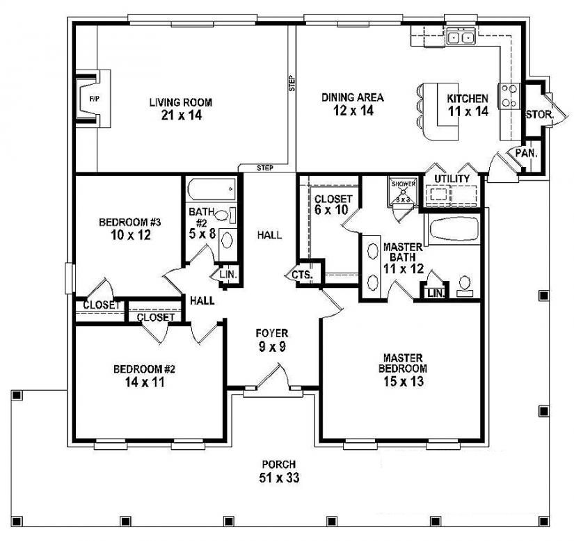 654151 one story 3 bedroom 2 bath southern country for One story 4 bedroom house floor plans