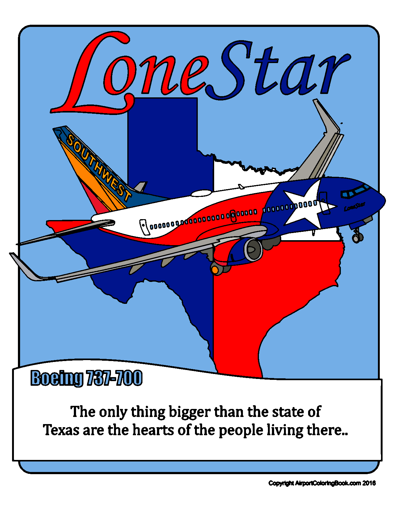 Airport Coloring Book Southwest Airlines Lone Star 737 ...