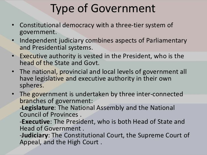 This PowerPoint slide shows the type of government that South ...