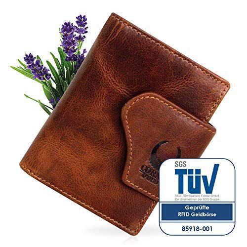6a2d4cc4758fa Geldbörse Herren Leder mit TÜV-zertifiziertem RFID Schutz kompaktes  Portemonnaie Brieftasche Portmonee vintage Damen Geldbeutel