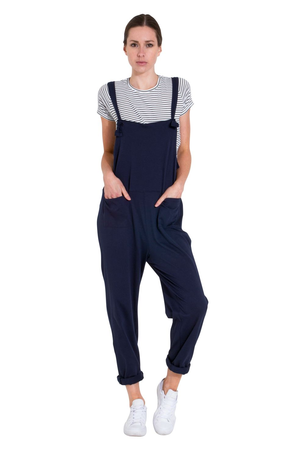Ladies Jumpsuit Navy All-in-one Overall Playsuit One size UK 8-12